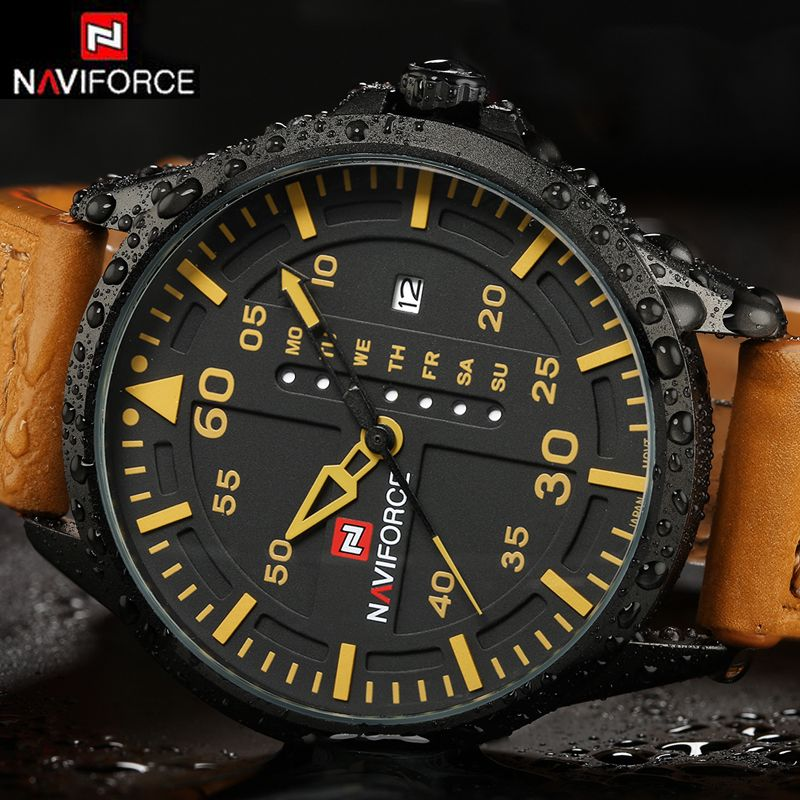 NAVIFORCE Luxury Brand Date Japan Movt Men Quartz Casual Watch Army Military Sports Watch Men Watches Male Leather Clock <font><b>2016</b></font>