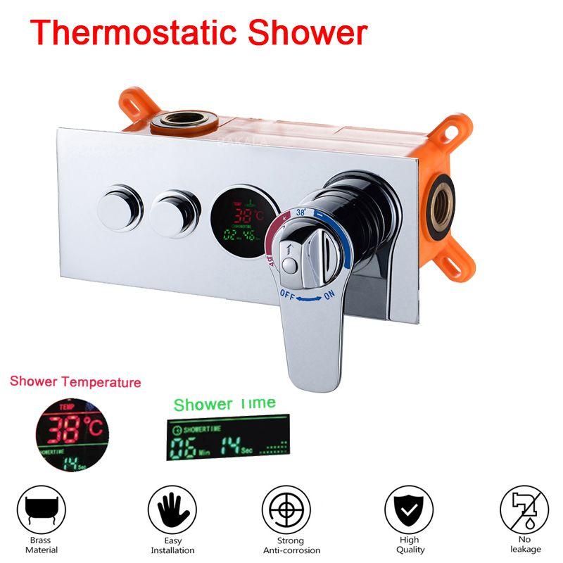 Vanne de commande dissimulée de salle de bains vanne de mélange thermostatique en laiton mural panneau de douche 2 voies contrôleur en acier inoxydable
