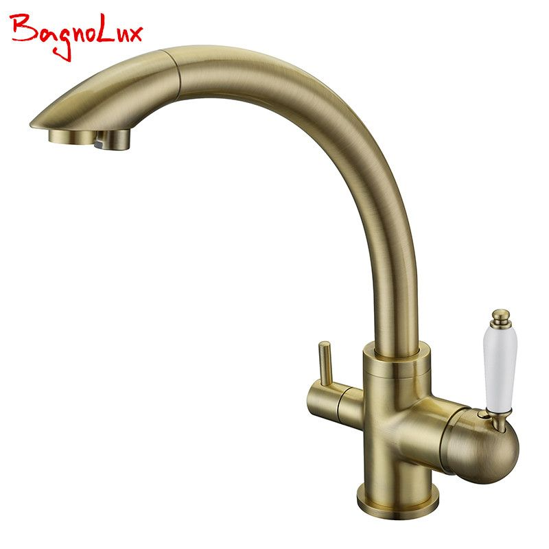 New Solid Brass Swivel 3 in 1 Drinking Water Kitchen Faucets Robinet Para Torneira Wels Sink Mixer Tri <font><b>Flow</b></font> 3 Way Filter Taps