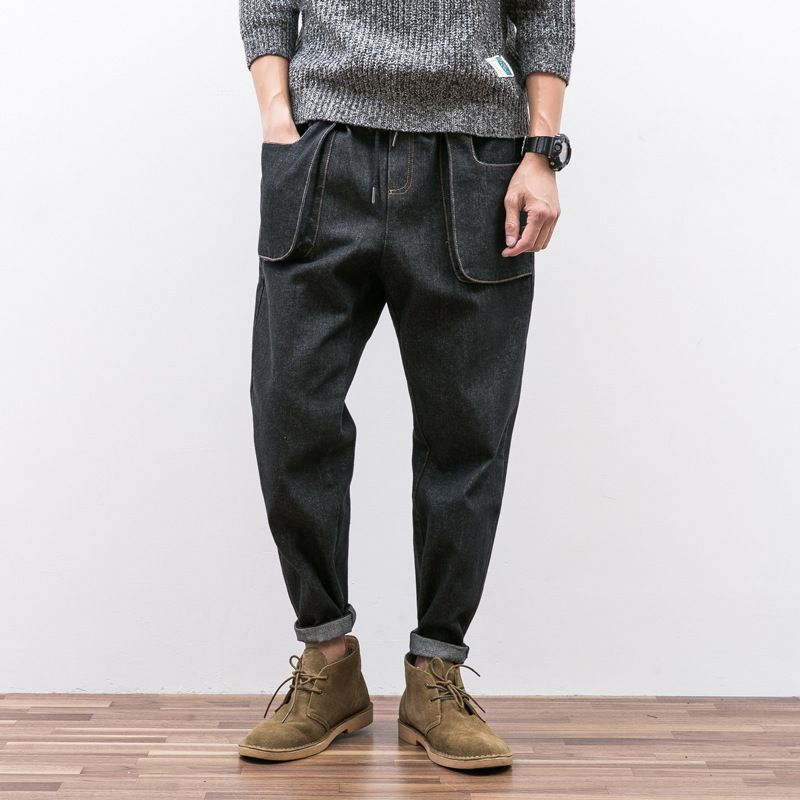 Design Japanese Line Drawn Rope Jeans Men's Feet And Easy To Restore The Three-dimensional Pocket Of Young Haren Pants