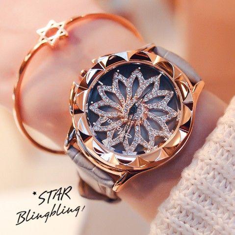 2017 New Arrival Women Fashion Watch Luxury Rhinestone Quartz Watch 6 Color Big Dial Genuine Leather Wristwatches Clocks Hour