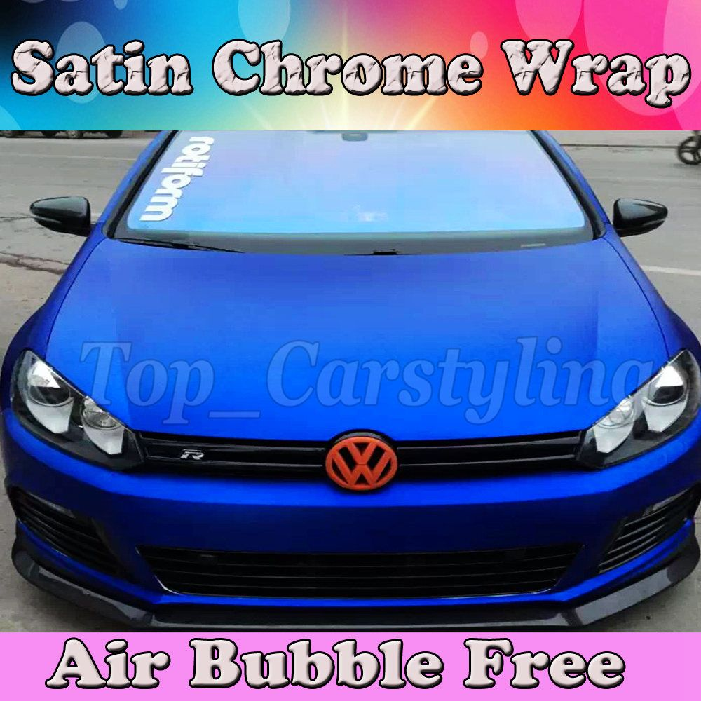 Deep Blue matt chrome Vinyl For Car Wrap Skin Covering With Air Release / AIR BUBBLE FREE PROTWRAPS size 1.52x20m(5X67ft) ROLL