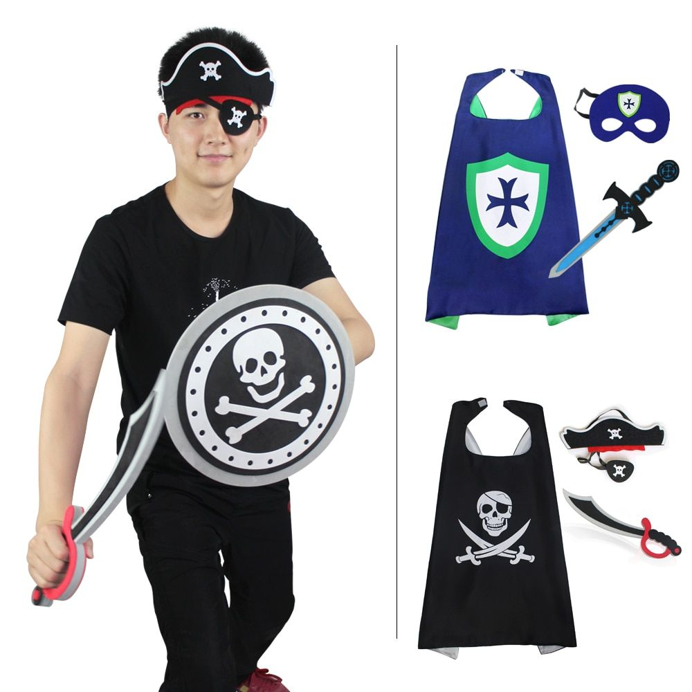 SPECIAL L 27* Pirate Cape Costume Mask party decoration Christmas Halloween kids masque costume knight cape boy toy cloak