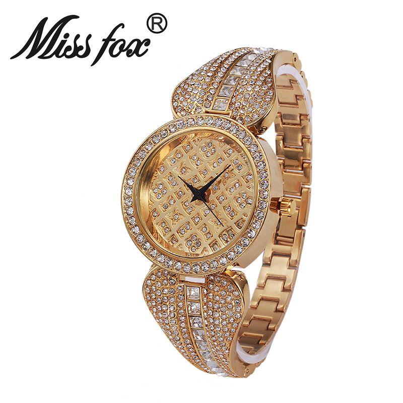 MissFox Women Metal Watch Bracelets Water Resistant Women Wrist Watch Top Brand Luxury Rhinestone Watch Gold Diamond Watches