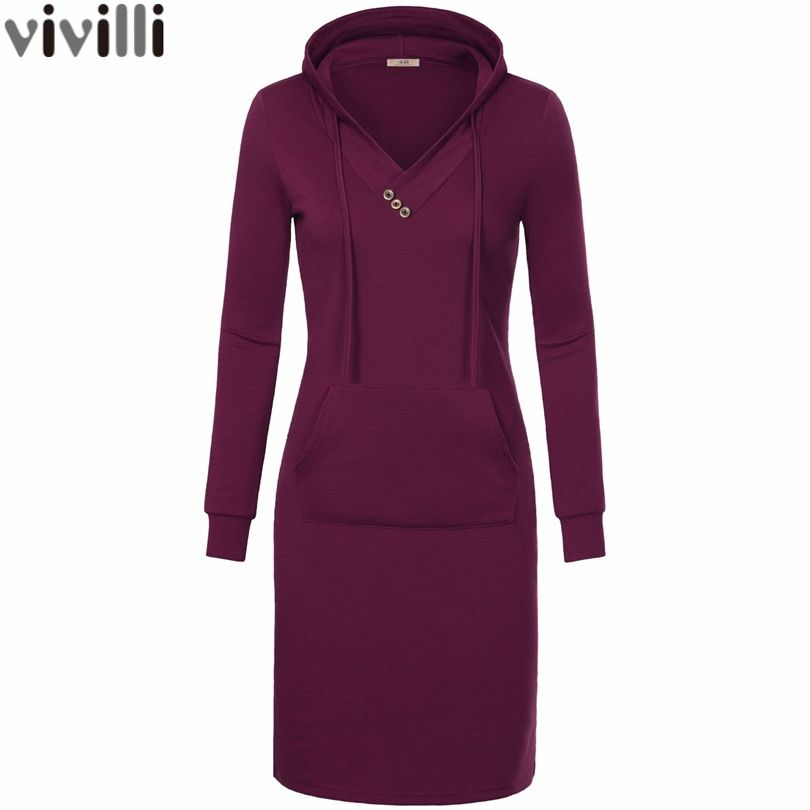 Spring Autumn Women Long Sleeve Sweatshirt Hooded Dress Knee Length Big Pocket Bodycon Casual Dress Red Thickening Women Dress