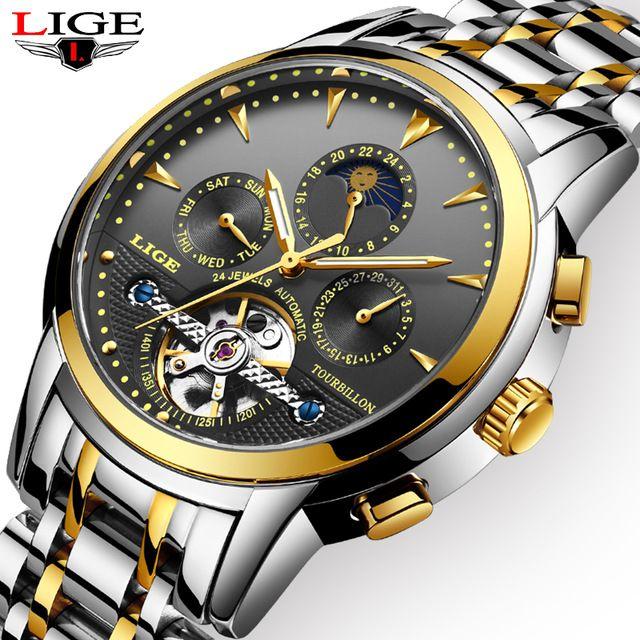 LIGE Men Watch Automatic Mechanical Watches Golden Luxury Brand Business Full Steel Waterproof Sports Clock Relogio Masculino