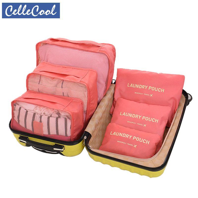 CelleCool 6 pièces/ensemble Oxford tissu voyage maille sac en sac de haute qualité organisateur de bagages emballage Cube organisateur pour vêtements