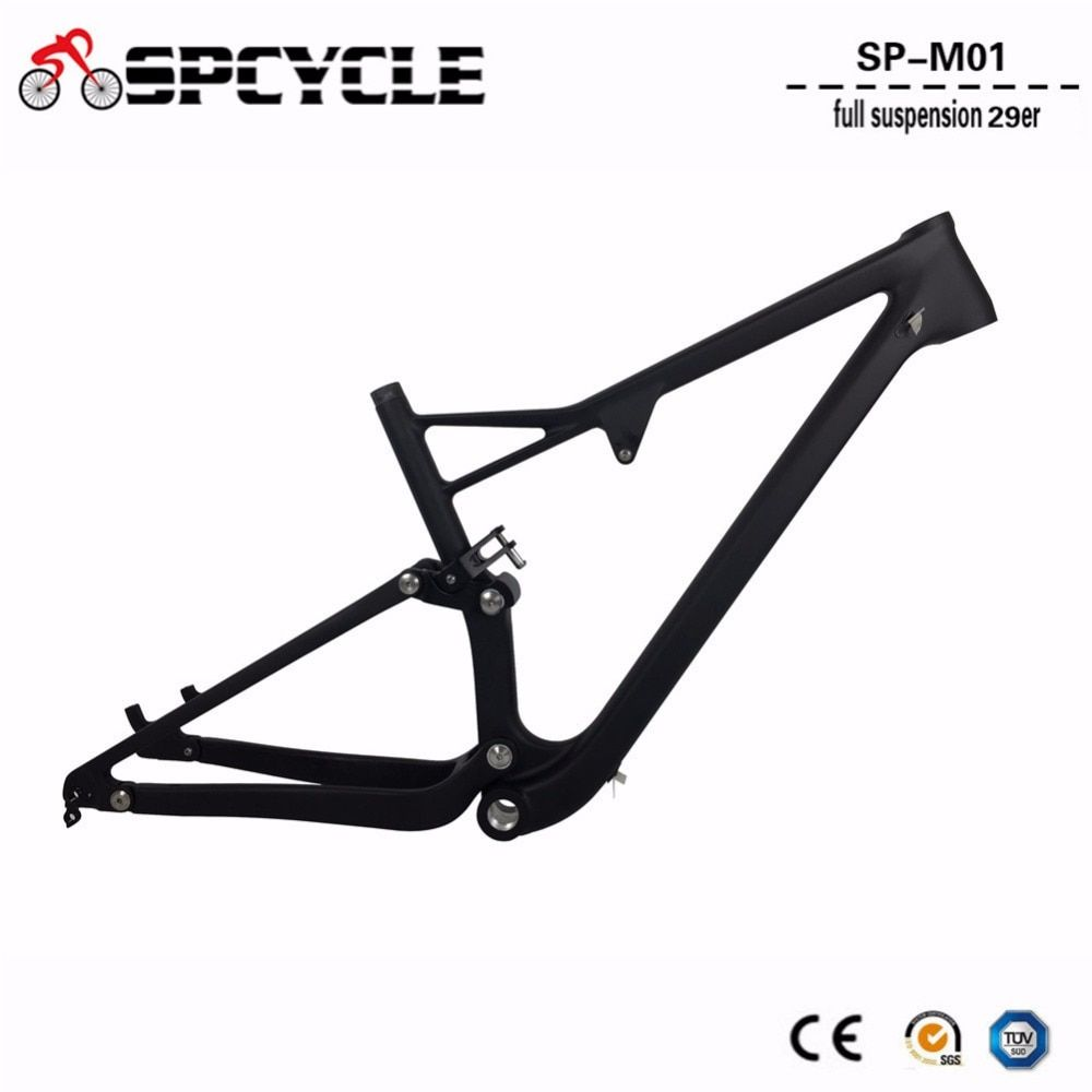 2019 New 29er Carbon Full Suspension MTB Mountain Bike Bicycle Frames T1000 29er Full Suspension MTB Carbon Frames 15