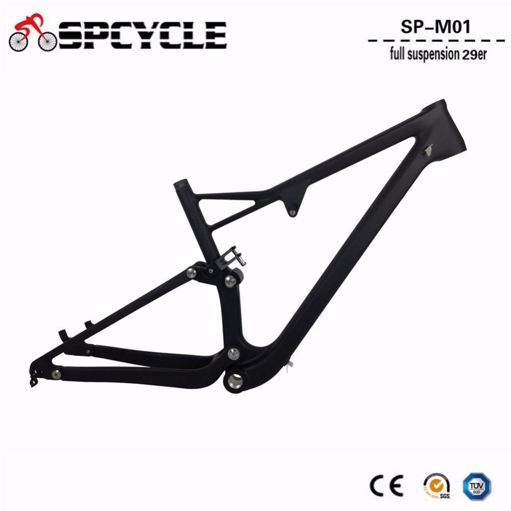 2019 neue 29er Carbon Full Suspension MTB Mountainbike Fahrrad Rahmen T1000 29er Full Suspension MTB Carbon Rahmen 15