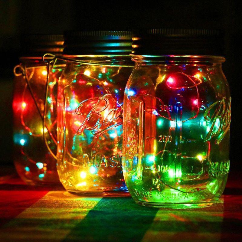 20LED Solar Powered DIY Fee String Licht Für Weckglas Deckel Einsatz Farbwechsel Halloween Hochzeit Weihnachten Garten Dekoration