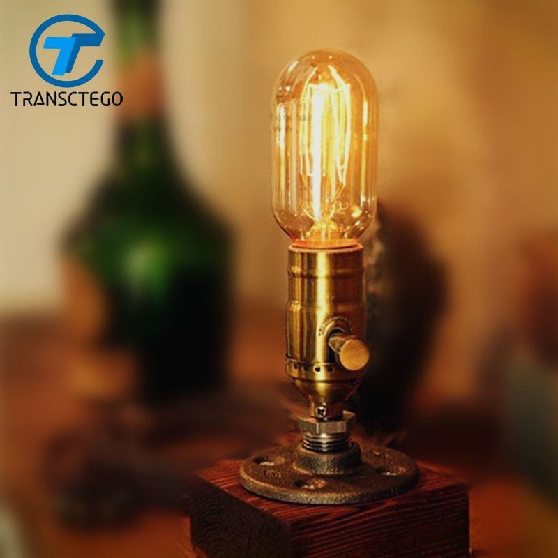 Desk Lamp Dimmable Table Light Wood Edison Bulb 220V Bedroom Bar wooden Retro Coffee Shop Vintage escritorio luminaria de mesa