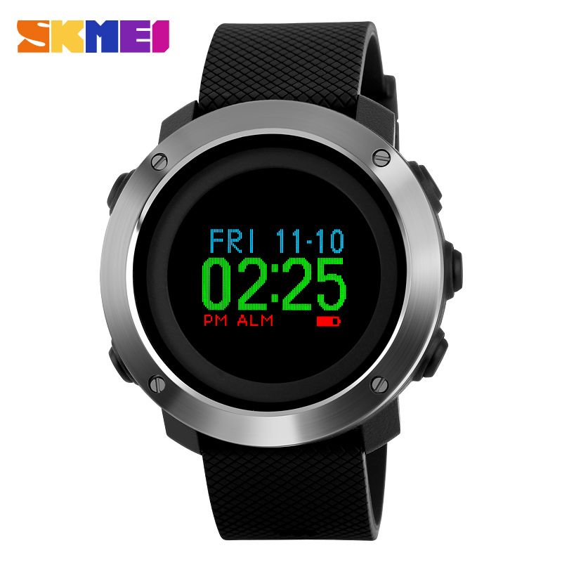 SKMEI Fashion Compass Watch Men Colorful Screen Pedometer Sports Watches Waterproof Outdoor OLED Display Digital Wristwatches