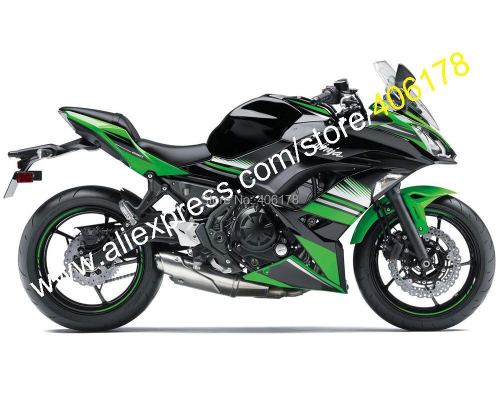 Hot Sales,For Kawasaki Ninja 650R ER-6F 2017 2018 Parts ER6F 650 17 18 Green Black Aftermarket Fairing Kit (Injection molding)