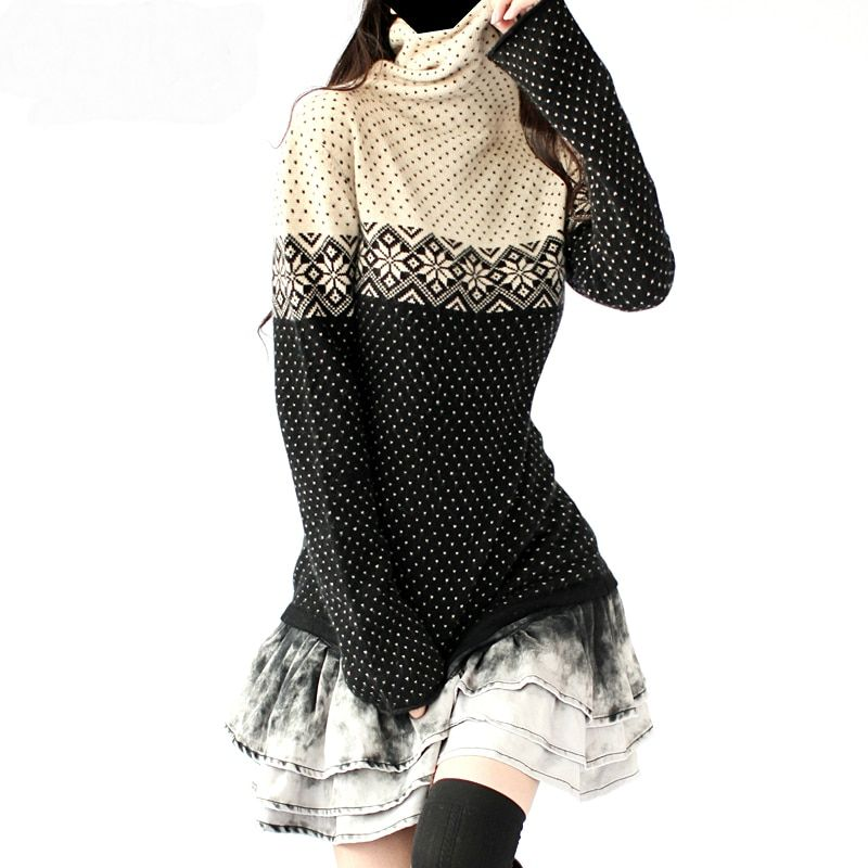 Artkas Fashion Women Long Cashmere Vintage Sweaters And Pullovers Female Clothing Autumn Winter Warm Snowflake Turtleneck Tops