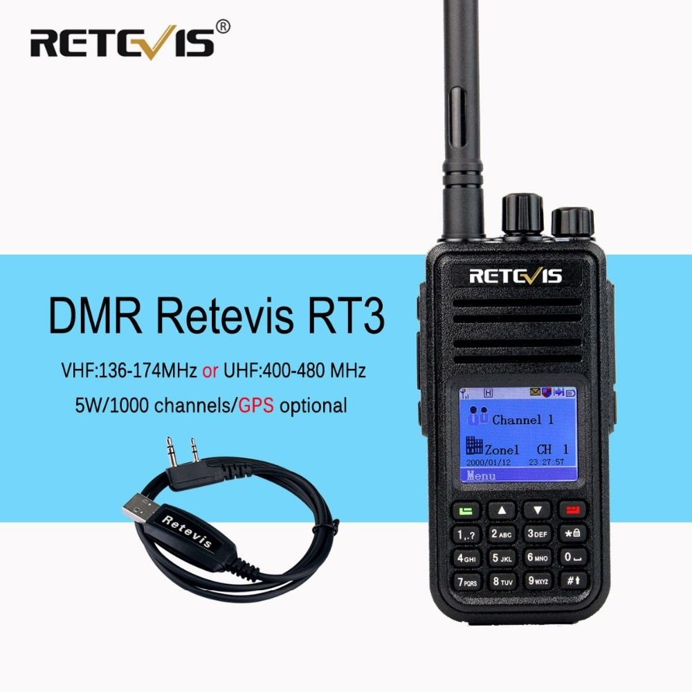 DMR Radio Retevis RT3 Digital Walkie Talkie VHF(or UHF) 5W (GPS) VOX Encrypted Two Way Radio Ham Radio Amador Transceiver+Cable