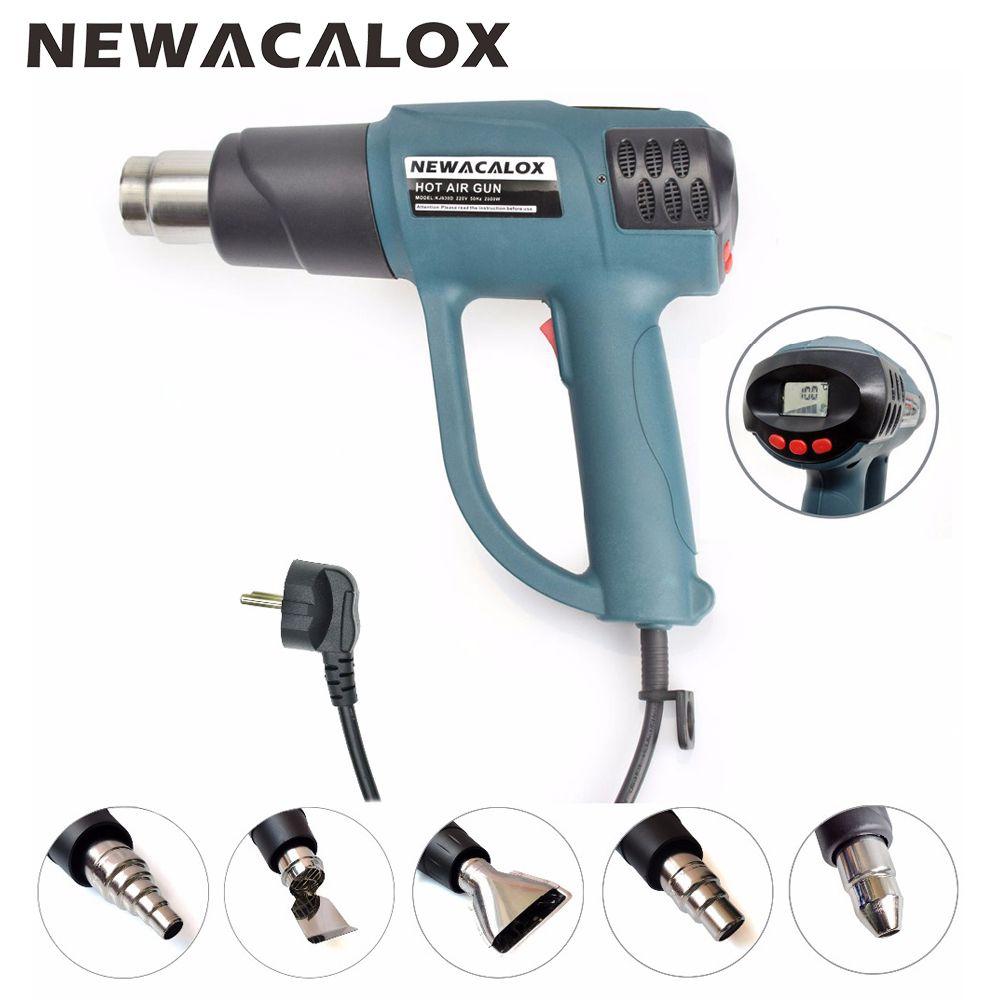 NEWACALOX 2000 W 220 V prise EU Thermostat intelligent affichage LCD pistolet à Air chaud industriel pour réchauffeur d'emballage rétractable avec 5 buses pièces