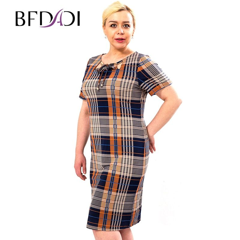 BFDADI 2016 New Women Dress Casual O-neck with The Tether Short-sleeved Plaid Dress Hot Summer Style Dresses 3342-0