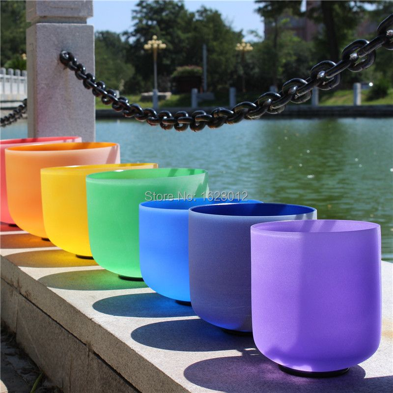 Singing bowl set 8 inch-14 inch,7 colored crystal bowls with free suede mallet and O-ring