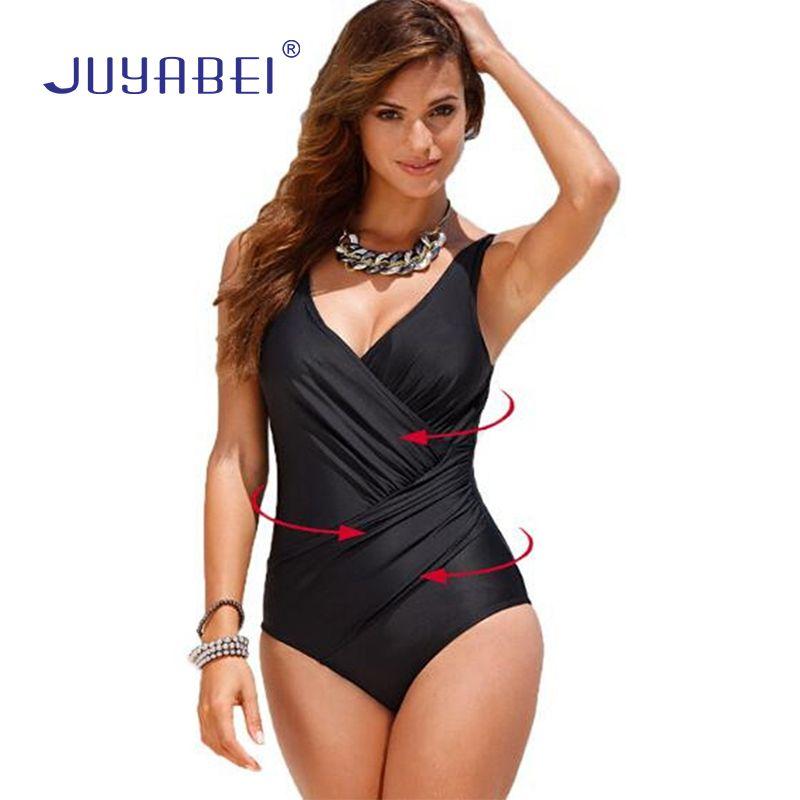 JUYABEI Plus Size Swimwear Women One Piece Swimsuit 2018 Big Swimwear Large Size Vintage <font><b>Retro</b></font> Swimsuit Bathing Suits Swim Black
