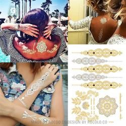 hot sell body art painting tattoo stickers Metal gold silver temporary flash tattoo Disposable indians tattoos tatoo VT334