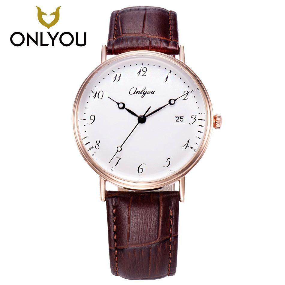 ONLYOUWomen Watches Arabic Number Watch Leather Quartz Men Watches contracted Lover Watch Waterproof Display Date relogio mascul