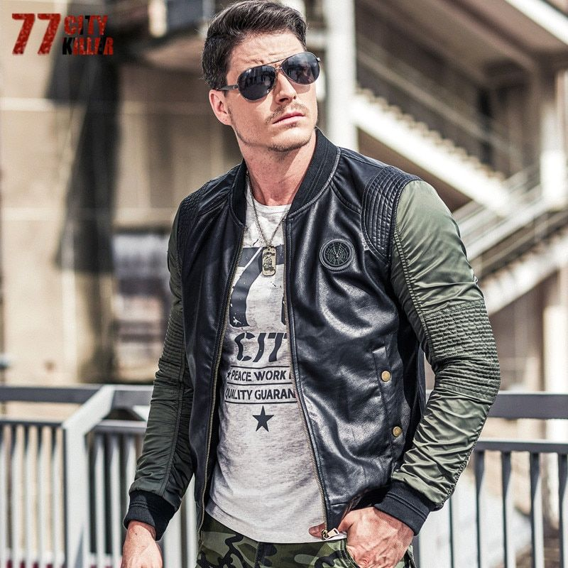 77City Killer Pleated Military Pilot Jackets Men Patchwork Leather Stand Collar Bomber Jacket Men Casual Air Force Flight Jacket