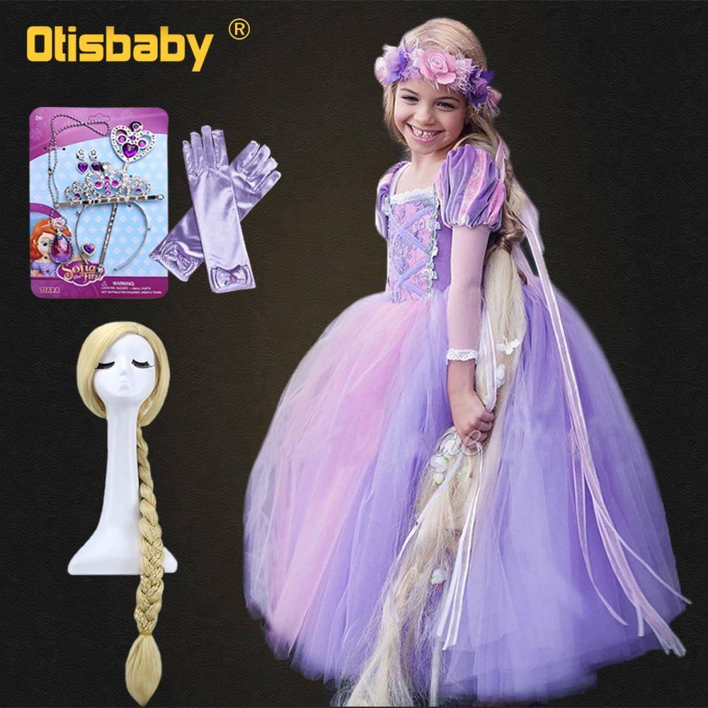 Autumn 2018 Fancy Tangled Rapunzel Dress for Girls Girl Chiffon Long-sleeve Princess Dress Children Halloween Christmas Costume