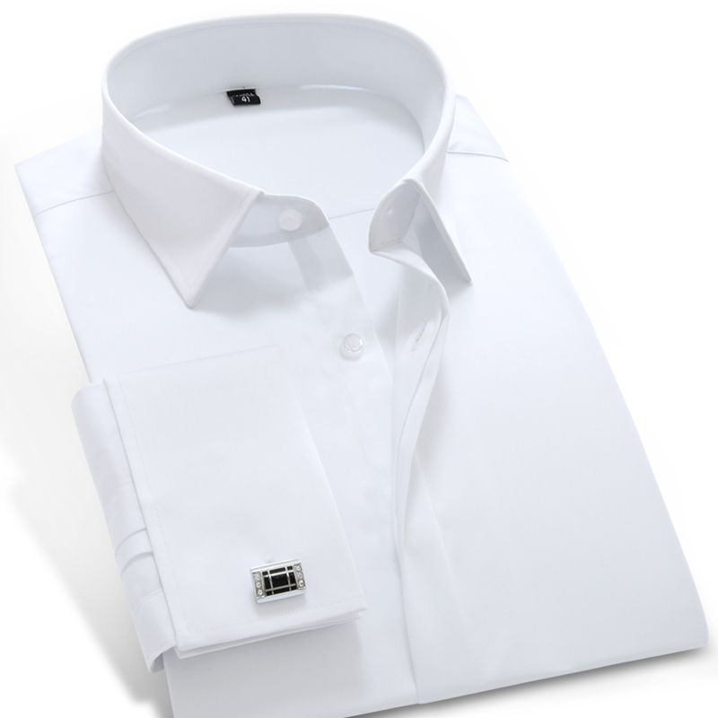 2017 Mens Long Sleeve French Cuff Solid Dress Shirt Peaked Collar Cotton Blend Slim Fit Tuxedo Casual Shirt (Cufflink Included)