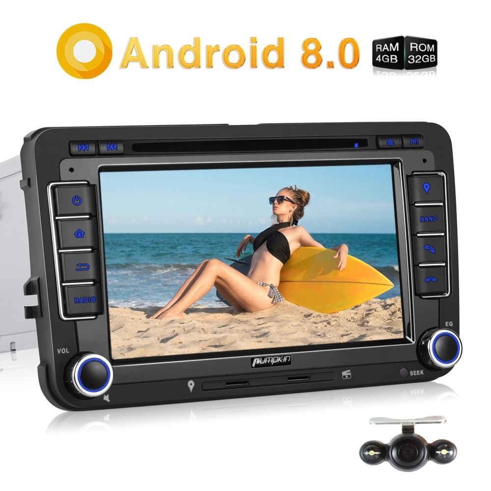 Pumpkin 2 Din 7'' Android 8.0 Car DVD Player GPS Navigation Car Stereo For VW/Skoda/Passat Qcta-core FM Rds Radio Wifi Headunit