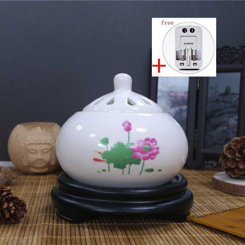 220V Creative Vintage Pattern Essential Oil Ceramic Incense Burner Multifunction Electronic Fragrant Powder Stove Birthday Gifts