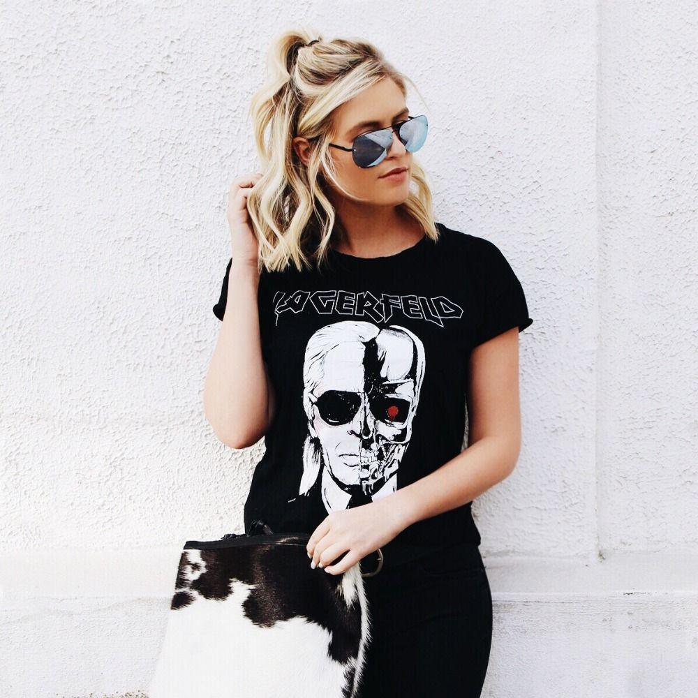 Chemises de femmes Tops Marque 2016 De Mode Nouveau Squelette Tête Imprimé Tee En Noir Zombie Crâne Punk Rock Coton Chemises femmes