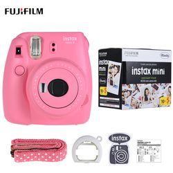 Fujifilm Instax Mini 9 Camera Fuji Instant Camera Film Cam with Selfie Mirror + 50 Sheets White Film Photo Paper