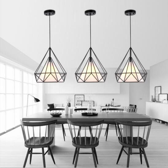 Cage à oiseaux pendentif lumières moderne fer minimaliste rétro lumière Scandinave loft pyramide lampe en métal cage diamètre 25/38 cm + LED ampoule