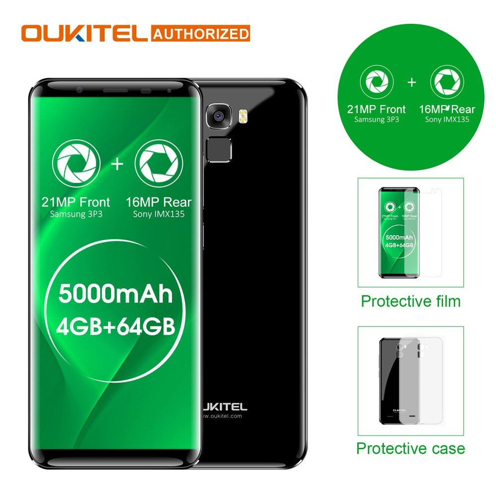 Oukitel K5000 5.7 HD 18:9 4G Smartphone 5000mAh Android 7.0 4GB+64GB MTK6750 Octa Core 21MP+16MP Fingerprint Mobile Cellphone