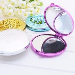 Vintage Main Miroirs Miroir De Poche Mini Compact Miroirs Fille Double-Côté Plié Creux Sur Le Maquillage Miroir P27