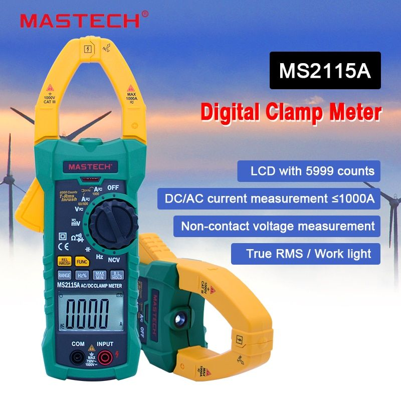 Digital Clamp Meter MASTECH MS2115A AC/DC 1000A auto range clamp meter Multimeter measured clamp current meter <font><b>tester</b></font>