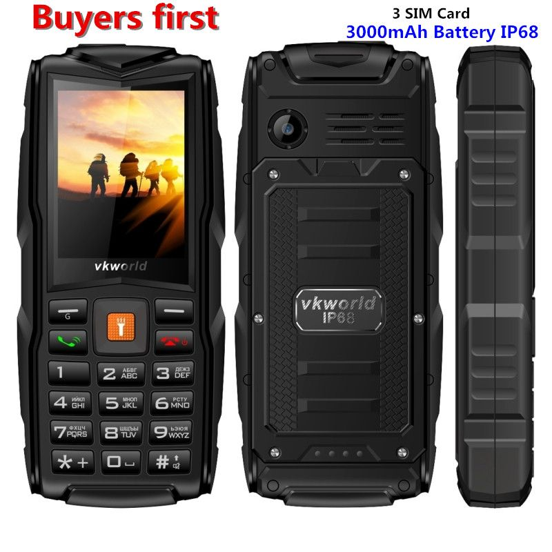 Original VKWorld New Stone V3 IP68 Waterproof 2.4 inch Mobile Phone 3 SIM Cards 3000mAh MP3 Cellphone can add Russian Keyboard