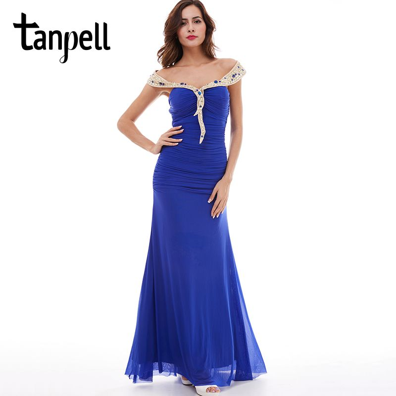 Tanpell off the shoulder evening dress dark royal blue sleeveless floor length gown chiffon ruched ladies prom evening dresses