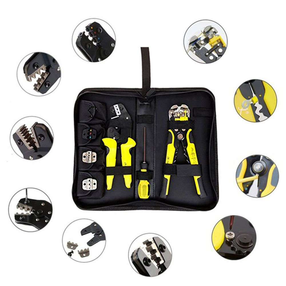 4 In 1 Multi Tool Wire Crimpers Engineering Ratcheting Terminal Crimping Tool Pliers Cord End Terminals + Wire Stripper