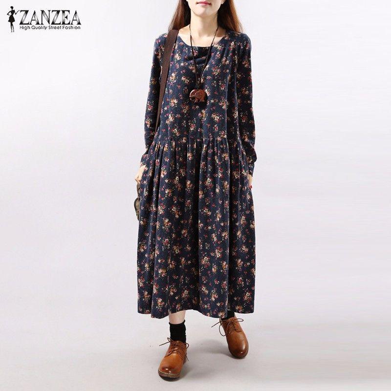 Robes 2019 automne ZANZEA femmes Vintage imprimé Floral robe à manches longues O cou poches lâche décontracté mi-mollet Vestidos grande taille