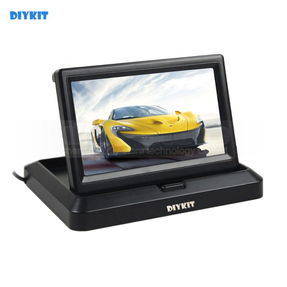 DIYKIT  5 inch Foldable TFT LCD Monitor Car Reverse Rear View Car Monitor for Camera DVD VCR
