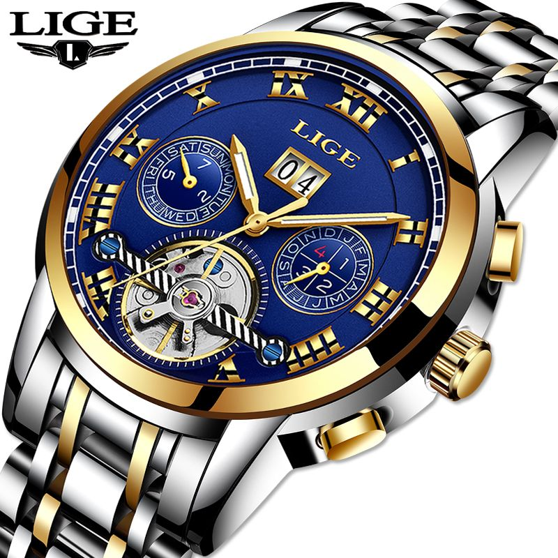 LIGE Top Brand Luxury Carnival tourbillon Watch men Stainless Steel Automatic machine Waterproof Busines watch relogio masculino