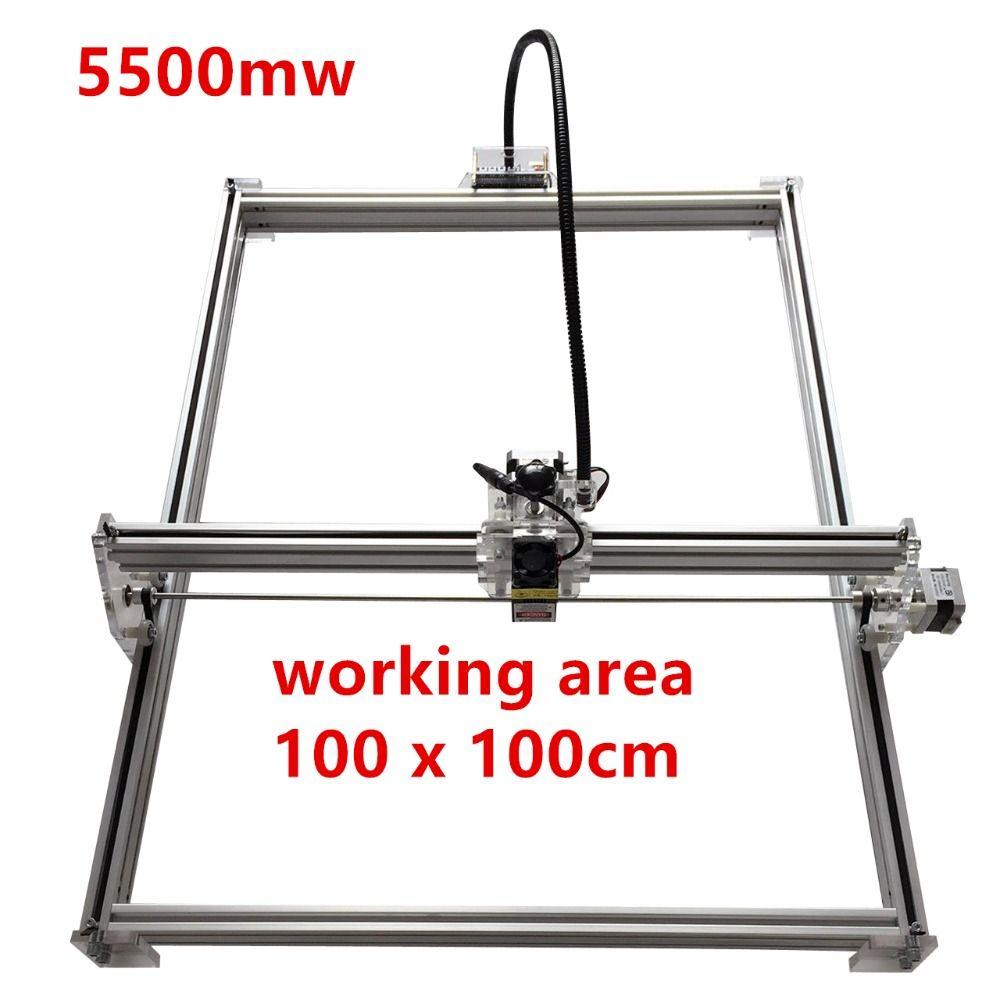 5500mw Mini desktop DIY Laser engraving engraver cutting machine Laser Etcher CNC print image of 100*100cm big working area