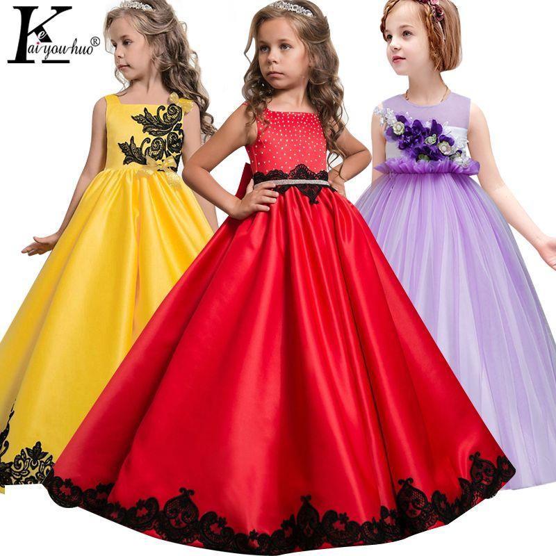 2018 Girls Dress Summer Kids Dresses For Girls Clothes Teenagers Princess Wedding Dress Vestidos 5 6 7 8 9 10 11 12 13 14 Years