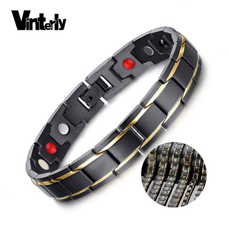 Vinterly Hommes Noir Bracelet Or Couleur Énergie Santé Germanium Bracelet En Acier Inoxydable Mâle Magnétique Bracelets pour Hommes Bijoux