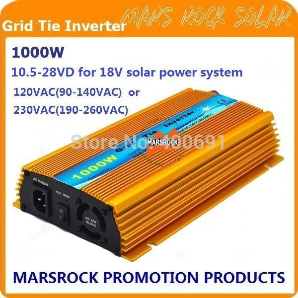 1000W Micro grid tie Solar Inverter, Pure Sine Wave, MPPT function for 18V(10.5V~28VDC), 90V-140V/180V~260VAC, 50Hz-60Hz