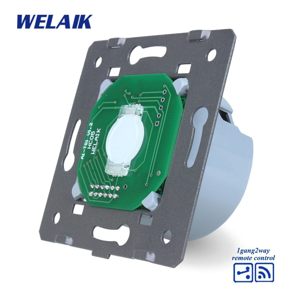 WELAIK Switch White Wall Switch EU Remote Control Touch Switch DIY Parts Screen Wall Light Switch 1gang2way AC110~250V A914