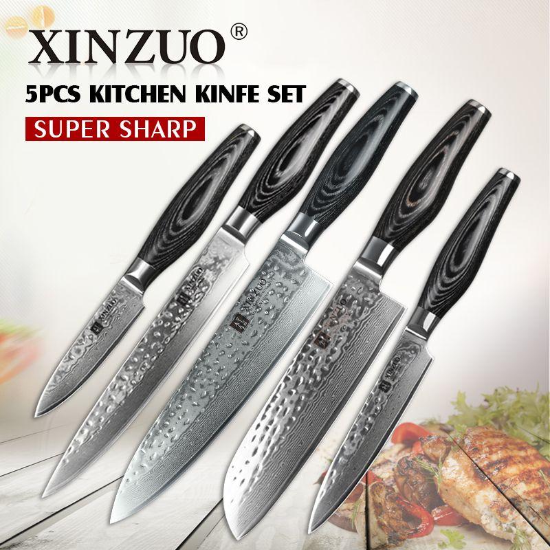 XINZUO 5 stücke küchenmesser set 73 schicht Damaskus küchenmesser Japanischen VG10 hackmesser kochmesser küche werkzeug-freies verschiffen