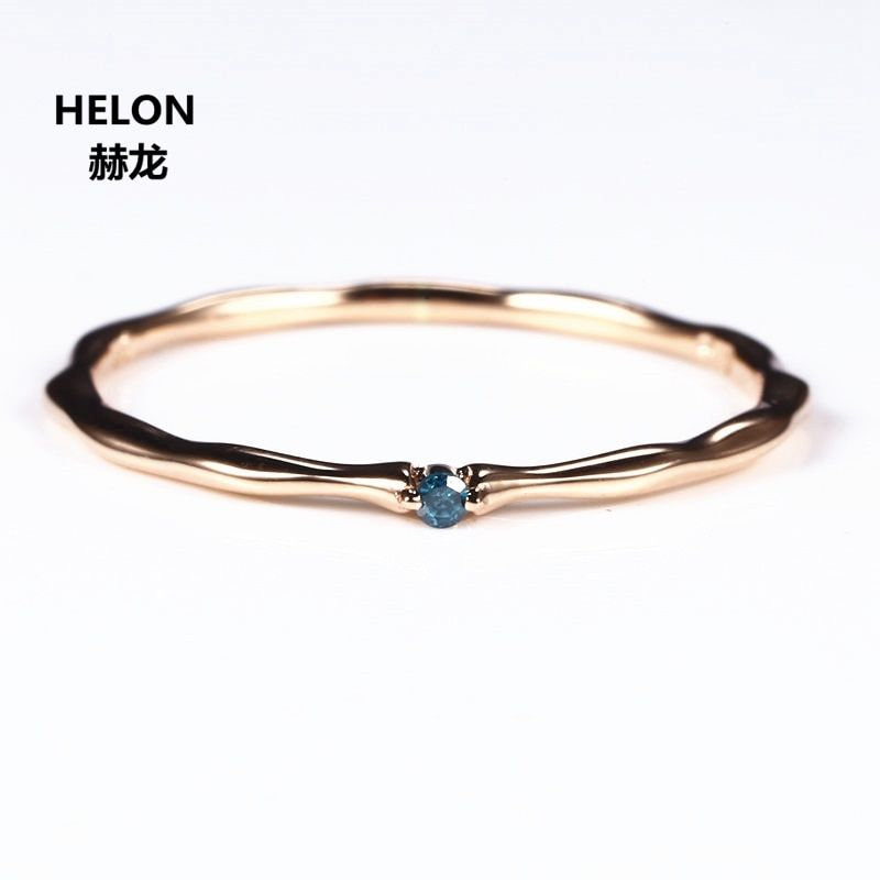 Certified Natural Blue Diamond Ring Solid 14k Rose Gold Women Engagement Ring Party Fine Joint Wedding Band Elegant Thin