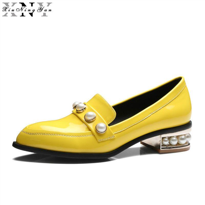 XiuNingYan 2017 Frauen Oxfords Lackleder Wohnungen Schuhe Slip-on Handgemachte Frau Faulenzer Gelb Schwarz Casual Schuhe Große Größe 33-48